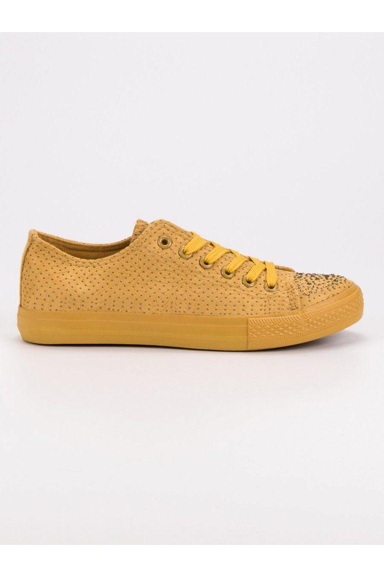 40c2bd7a4 Žlté tenisky s kryštálikmi Sport Žlté tenisky s kryštálikmi Sport Converse