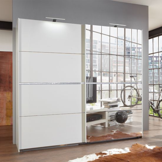 Mirror In Front Of Bedroom Door: Swiss White Sliding Wardrobe With Mirrors And Crystal