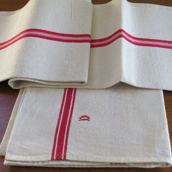 French Linen Kitchen Hand Towel Red Blue Stripe End Hanger Loops Hand Xstitch S