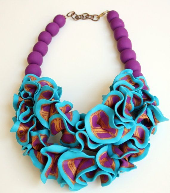 Bold and Colorful Statement Necklace, Chunky bib Necklace, Ruffle Necklace, Art Jewelry, Polymer clay Jewelry by batjas88