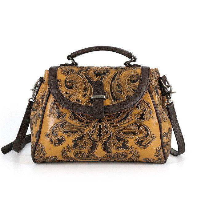 8174994e0b Made of Embossed Real Cowhide Women s Handbag Genuine Leather Vintage Totes  Female Hobo Messenger Crossbody Shoulder Travel Bags