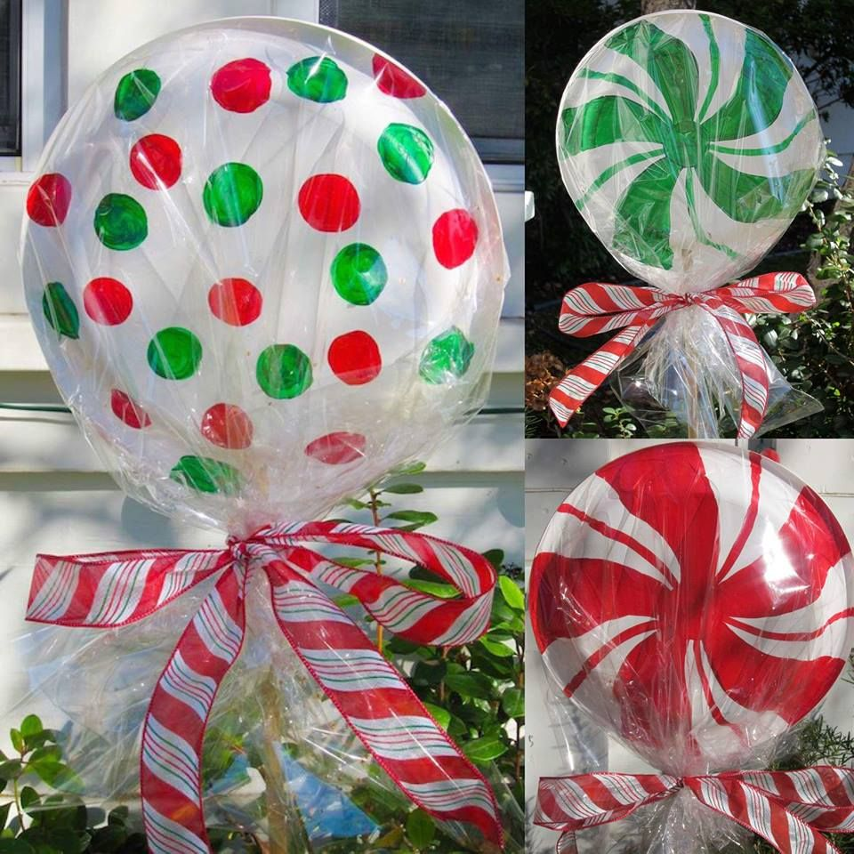thermocol plate lollipops for outdoor christmas decoration