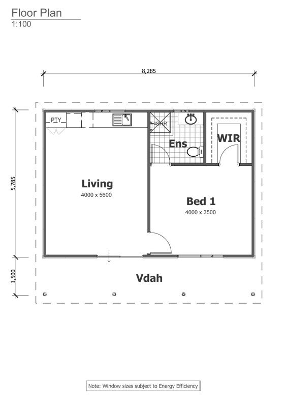 Studio grannyflat floorplan the granny flats for 1 bedroom granny flat designs