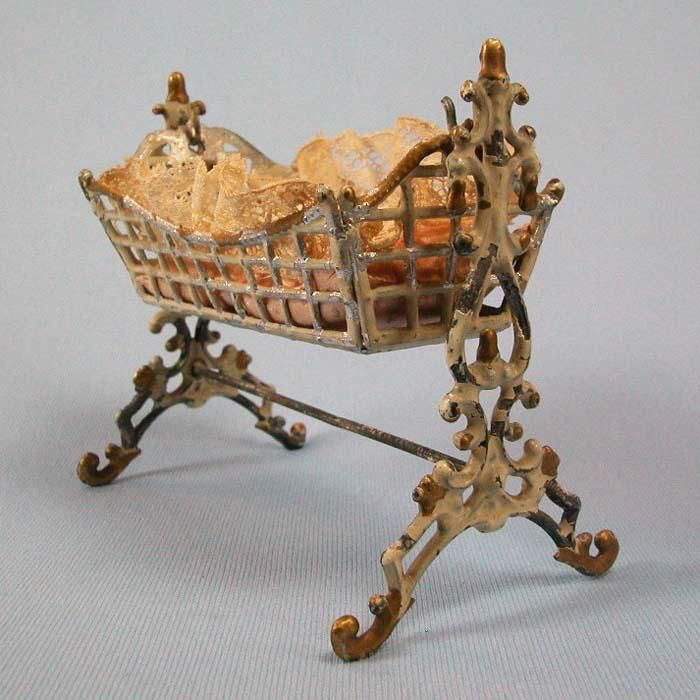 Antique German Soft Metal Doll House Miniature Cradle Late Victorian From  Curleycreekantiques On Ruby Lane