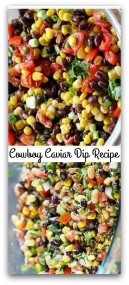 Vegan, Gluten free Cowboy Caviar Dip Recipe  #carbswitch please Repin Cowboy Caviar is packed with colorful, fresh ingredients that also happen to be healthy. Makes a great salsa, dip, or salad at your next…  + Cowboy Caviar is a melody of black beans, corn, red onion, cherry tomatoes, garlic & avocados marinated in a cilantro lime vinaigrette and served with to... #cowboycaviar