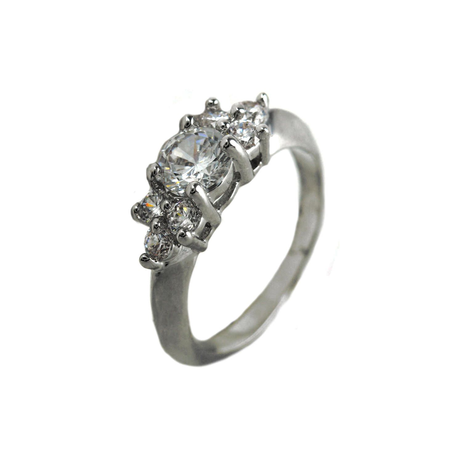 Engagement ring with multiple adjoining CZ stones. Sizes 5-9. Item #: r2763