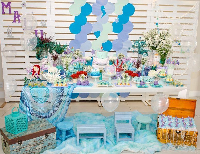 Inspiraç u00e3o festa com tema Sereia Festa sereia ideias, Sereias e Em casa -> Decoração De Mesa Para Festa Da Sereia
