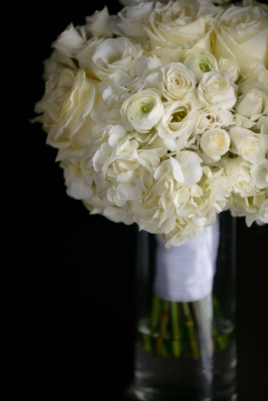 Monochromatic White Winter Bridal Bouquet Of Hydrangea Lisianthus