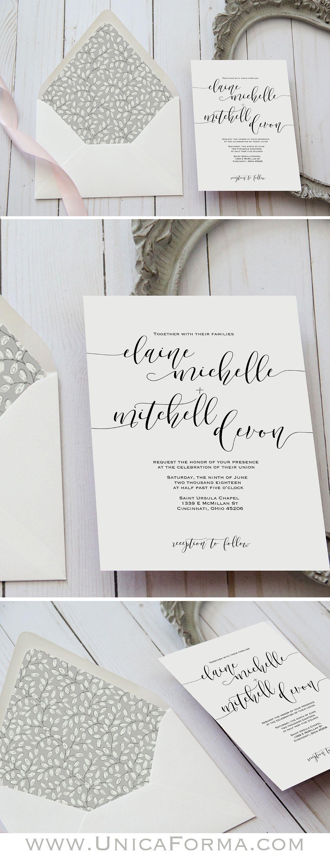 Script calligraphy wedding invitation. Simple wedding invitation ...