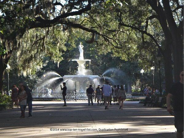 Beautiful Forsyth Park In Savannah Georgia Where The Famous Park