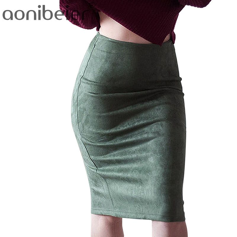 a31e0676f36ca6 Women Skirts Suede Solid Color Pencil Skirt Female Autumn Winter High Waist  Bodycon Vintage Suede Split Thick Stretchy Skirts