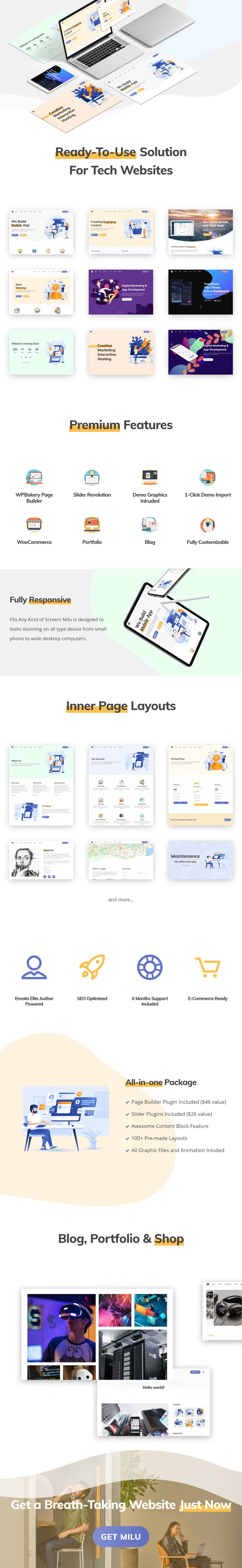 Milu Tech and App Landing Page Theme Download App
