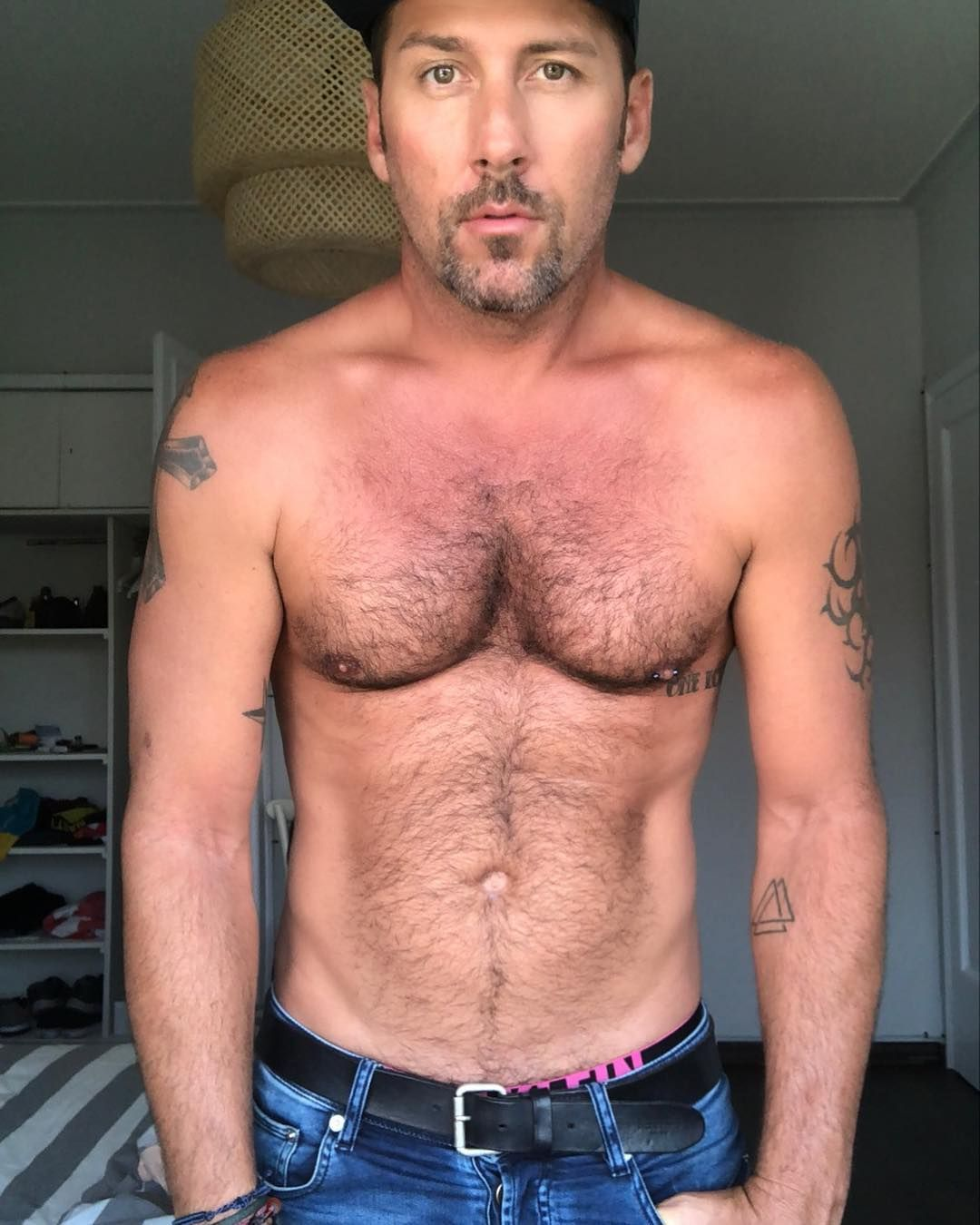 Hairy chest gay male