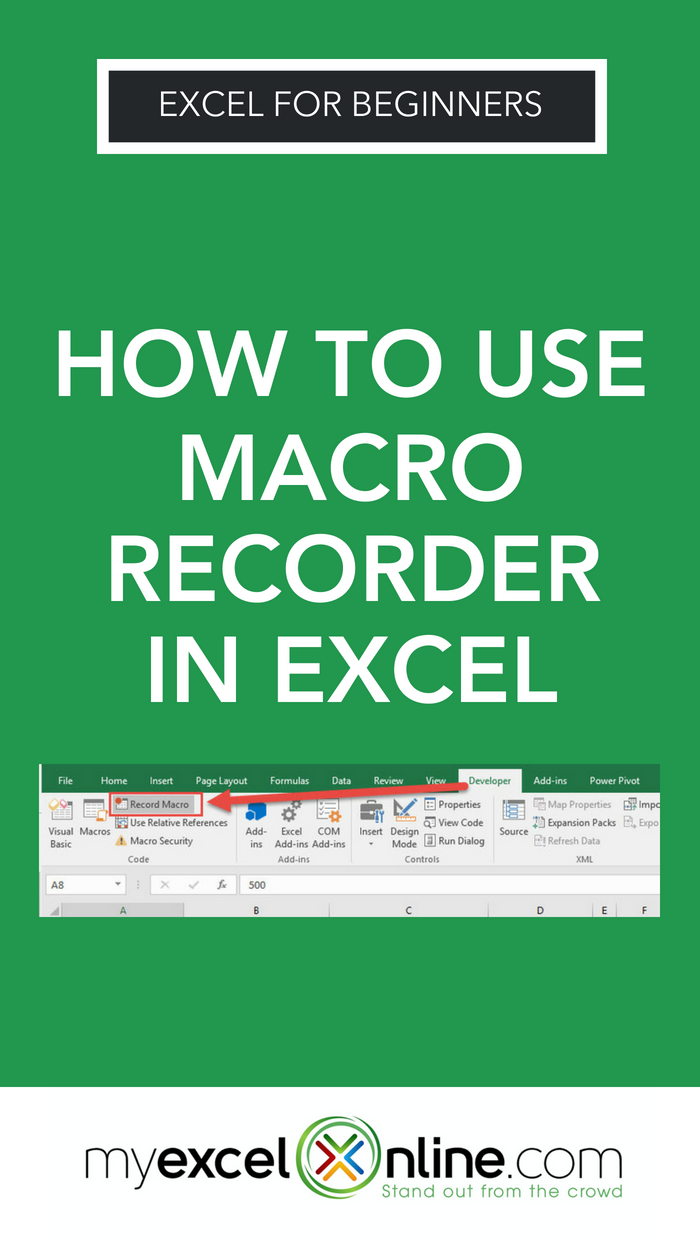 How To Use Macro Recorder In Excel Myexcelonline Microsoft Excel Tutorial Excel For Beginners Excel Tutorials