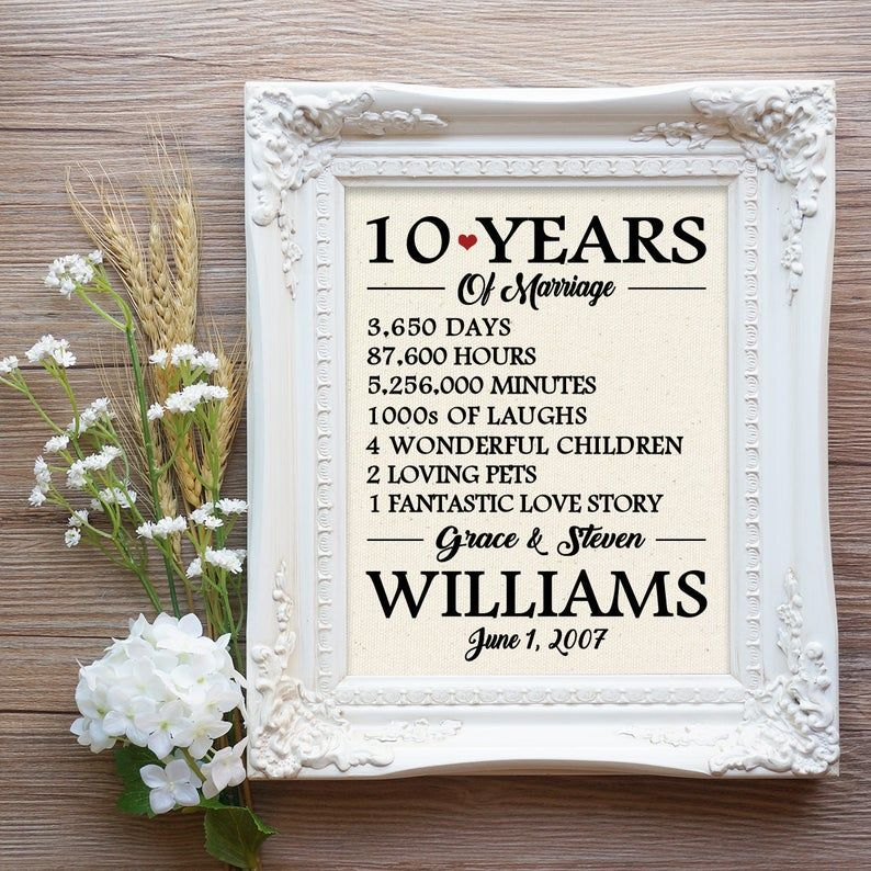 10 Years Of Marriage 10th Wedding Anniversary Gift 10 Year Etsy In 2020 10th Wedding Anniversary Gift 10 Year Wedding Anniversary Gift 10 Year Anniversary Gift