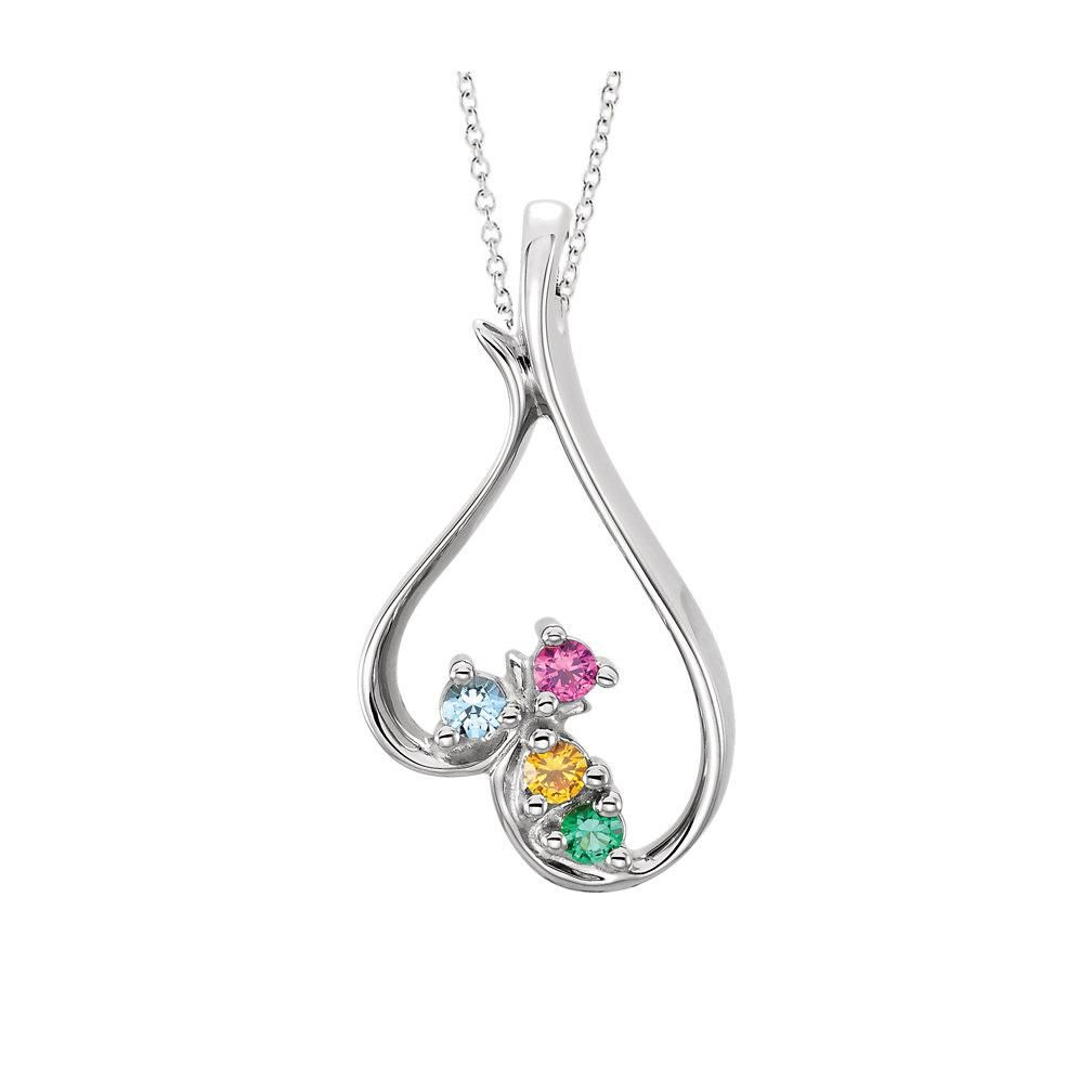 10K Gold Moms Infinity Pendant with Personalized Birthstones by JEWLR