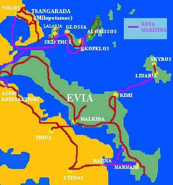 Guia Grecia Mapa Evia e Ilhas Sporades TRAVEL Pinterest