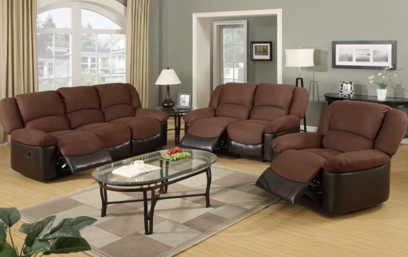 3 Pc Two Tone Saddle Microfiber And Espresso Leather Like Vinyl Upholstered Motion Reclining Sofa