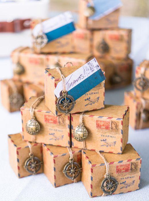 Vintage Inspired Airmail Travel Favor Box Kit Set Of 10 Wedding Favor Boxes Travel Theme Wedding Travel Party Theme