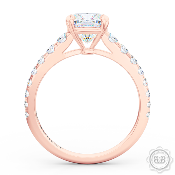 Classic Four Split Prong Cushion Cut Diamond Solitaire Engagement Ring. Handcrafted in Romantic Rose Gold, GIA Certified Diamond and French Pavé set Diamond shoulders. Bashert Jewelry. Boca Raton, Florida