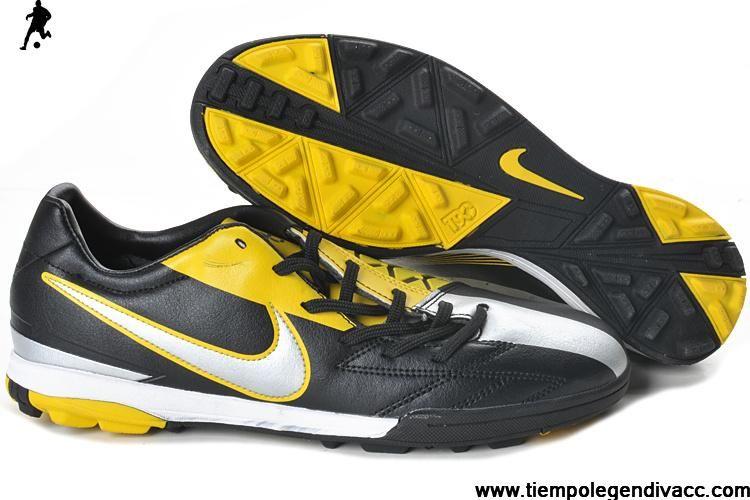 Sale Cheap Nike T90 Shoot IV TF Black Yellow Silver Soccer Boots Shop