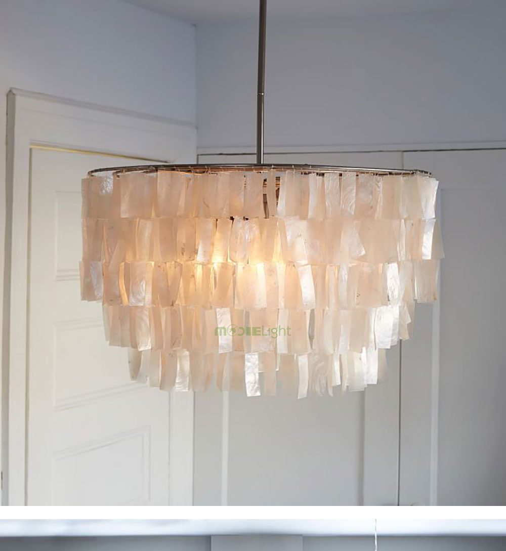 Modern White Capiz Shell Chandeliers Lighting Lustre Pendant Lamps
