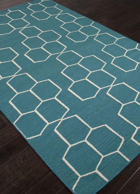 Jaipur Rugs RUG112851 Flat-Weave Geometric Pattern Wool Blue/Ivory Area Rug ( 3.6X5.6 )