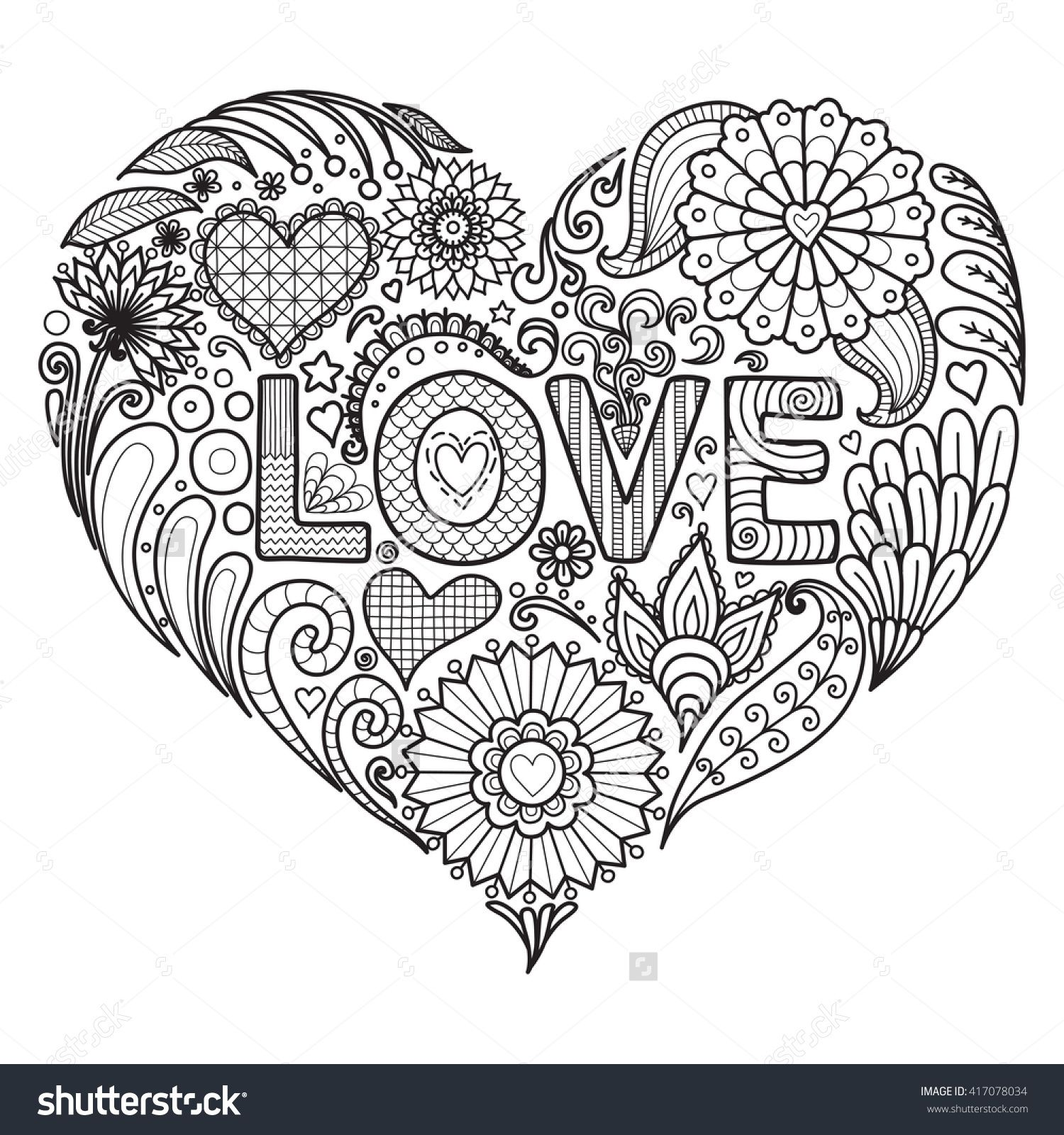 Heart On Flowers Coloring Books For Adult I Shutterstock 417078034 ...