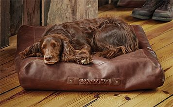 This Square Leather Dog Bed Cover Is Rustic Handsome And Unique The Fine Cowhide Leather Cover Promises To Look Grea Leather Dog Bed Covered Dog Bed Dog Bed