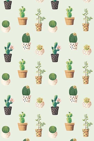 Cute Cactus Pattern Print Poster By Indieworks In 2020 Iphone Wallpaper Cactus Wallpaper Iphone Cute