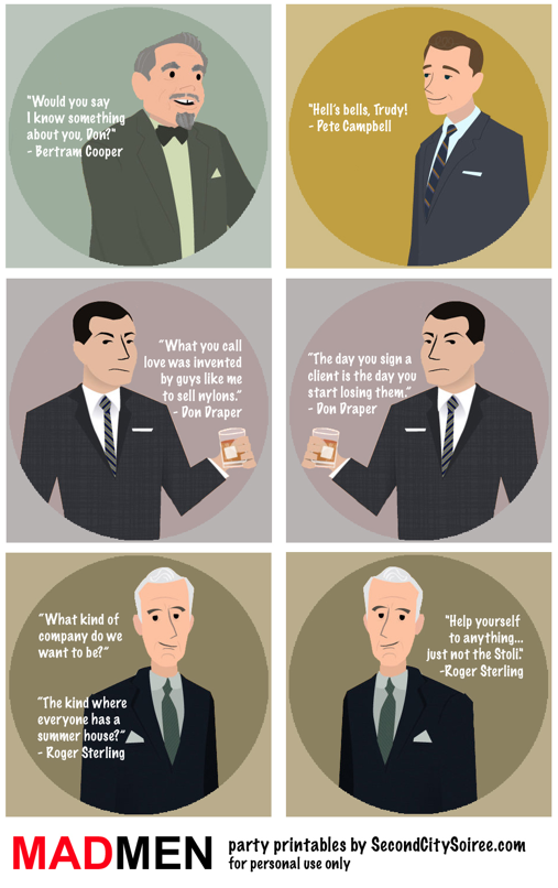 (To print on coasters or napkins) Mad Men Quips & Quotes 2 ...