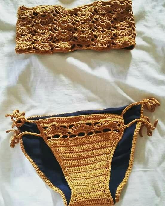 Costume A Fascia Ago Filo E Uncinetto Costumi Da Bagno Crochet