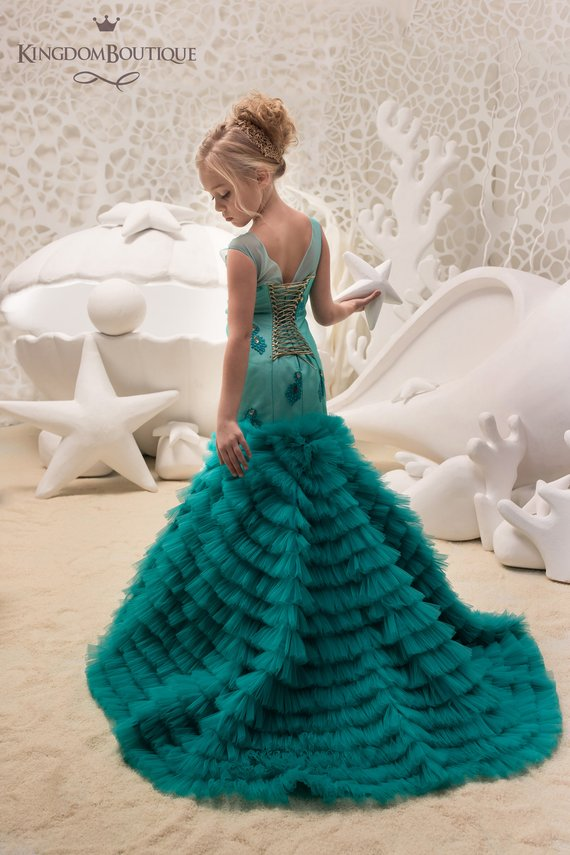 f131eb5a5f7 Teal Flower Girl Mermaid style Dress -Wedding Party Mermaid Style Teal Lace  Tulle Flower Girl Dress