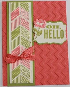handmade card ...  Oh, Hello  band of chevrons in olive and a rosey orange ... embossing folder chevron texture on bright base card ... Stampin' Up!