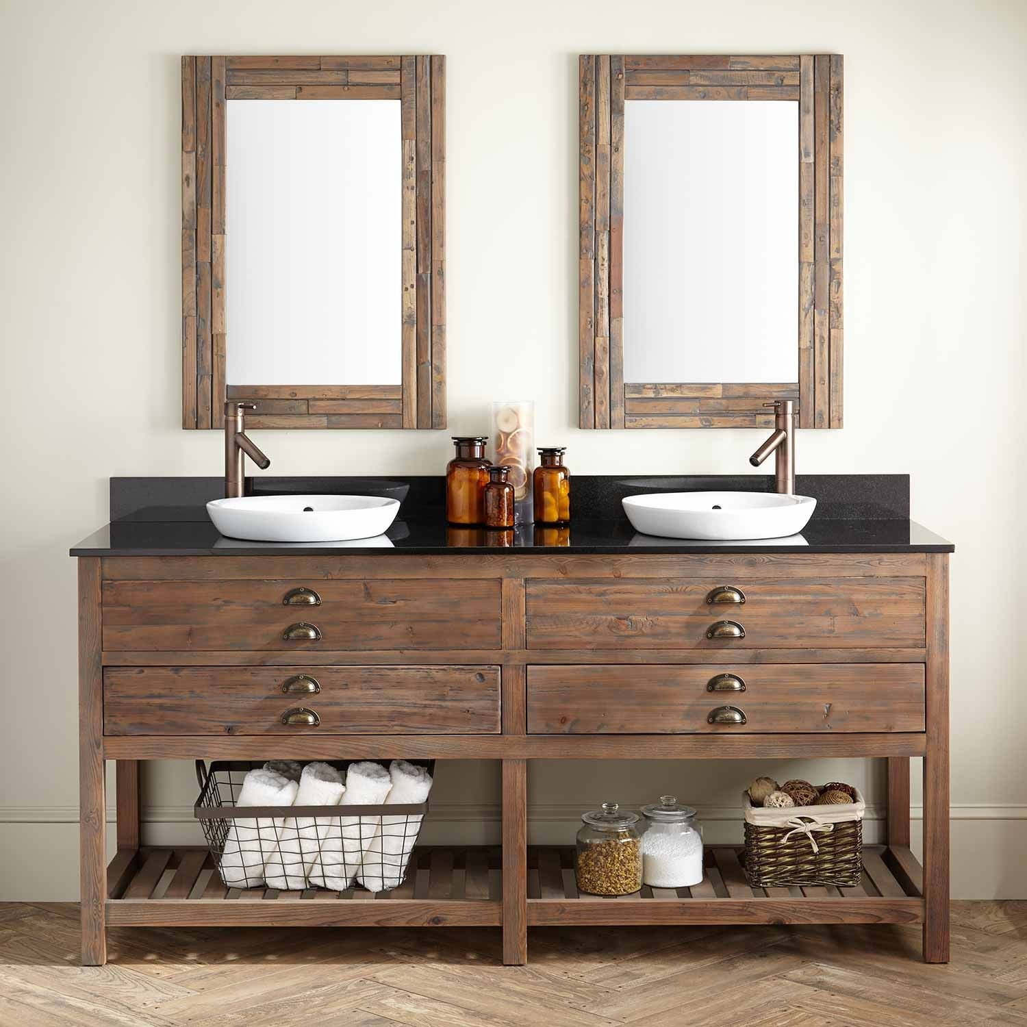 72 Benoist Reclaimed Wood Double Vanity For Semi Recessed Sink Gray Wash Pine