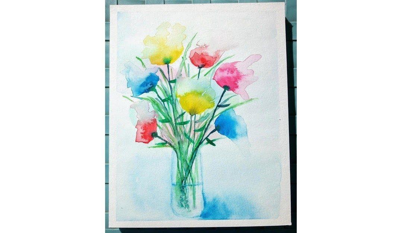 Progressons Ensemble A L Aquarelle Fleurs Abstraites Peinture