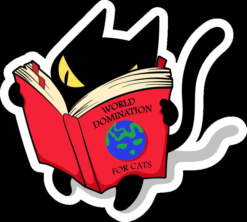 Black Cat Reading World Domination Book Cat Reading Cute Cat Sticker Black Cat