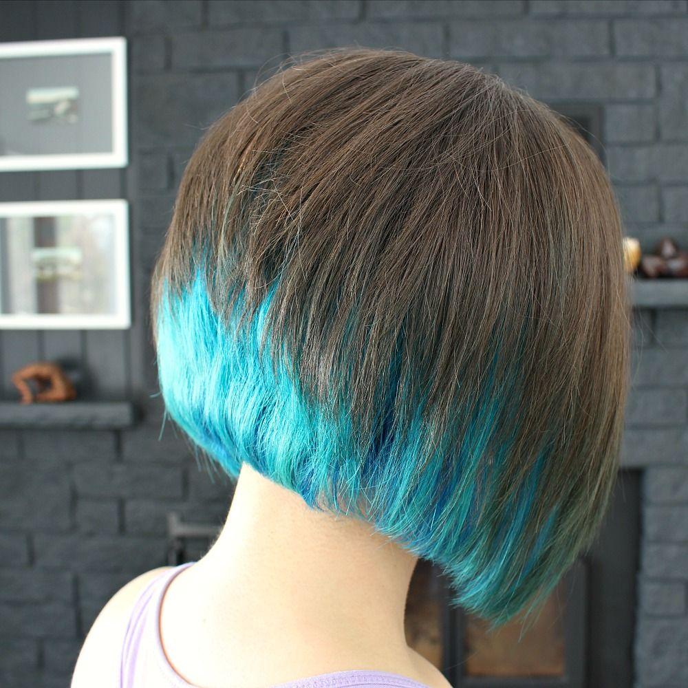 Bob Haircut With Peacock Mermaid Dye Jpg 1000 1000 Dip Dye