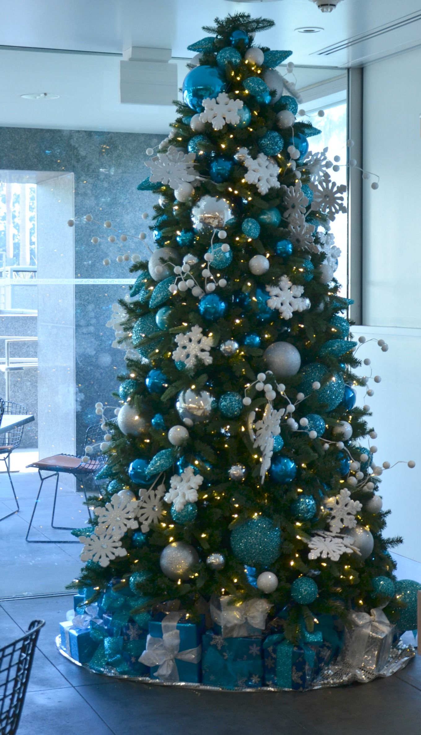 blue and white snowflake decorated christmas tree rental commercial christmas decorator christmas tree rentals christmas decoration rentals - Rent Christmas Decorations