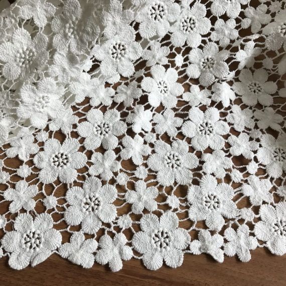 Off White Cotton Lace Fabric Charming Floral Flowers Fabric for Bridal, Girl Dress, Wedding Gowns, Home Decoration #flowerfabric