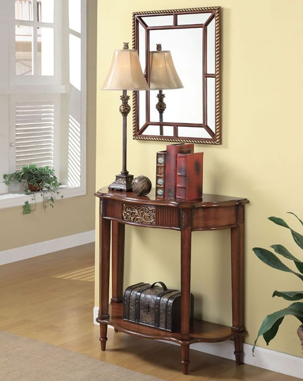 This 3pc Entry Way Console Table, Mirror And Lamp Set In Warm Brown Finish  Will