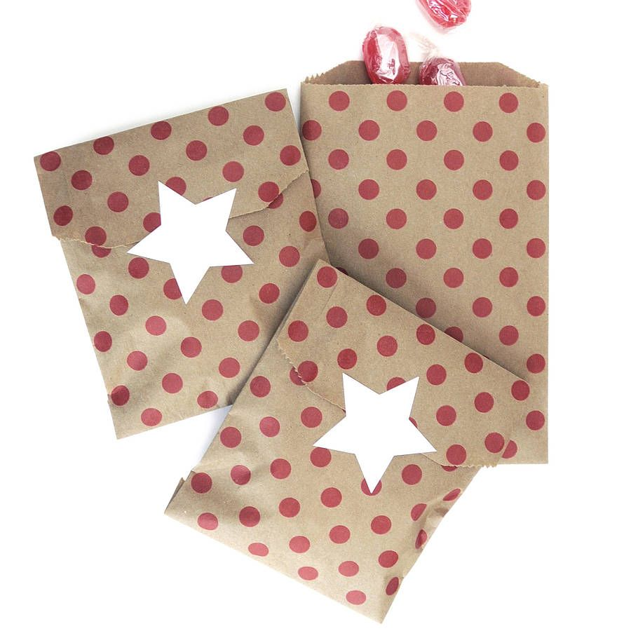 Red Polka Dot Brown Paper Bags