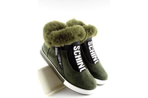 Ocieplane Buty Sportowe Zielone Army Green Slide Slipper Shoes Slippers