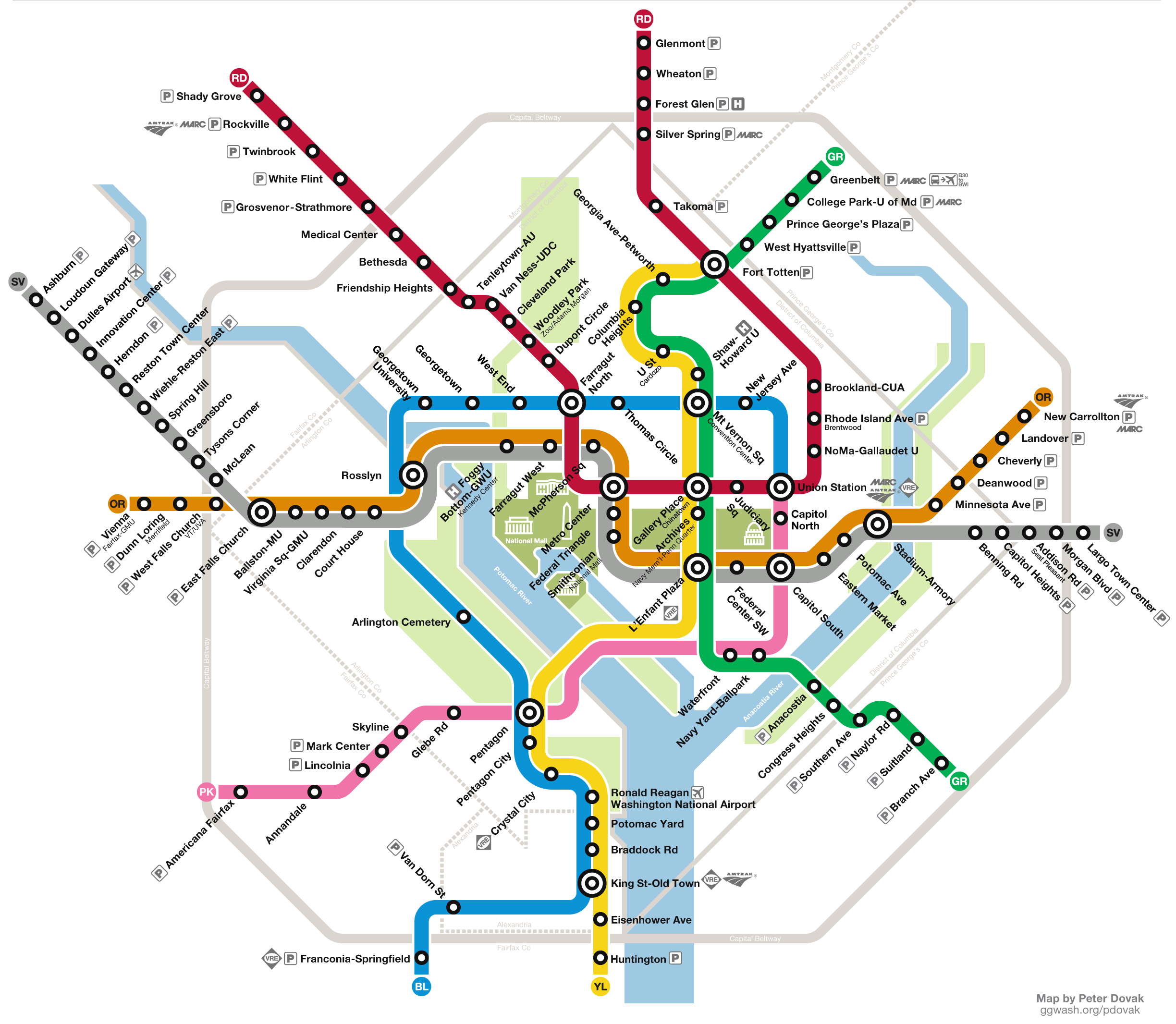 Wmata Rail Map Conceptual WMATA map by Peter Dovak. Expanded DC Metro System with