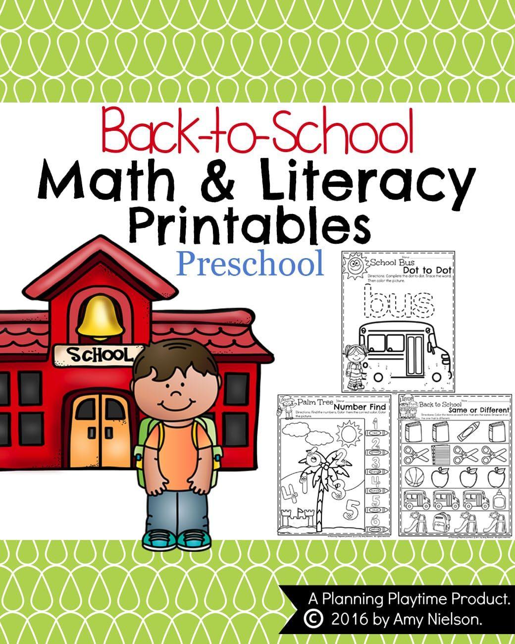 Back To School Preschool Worksheets