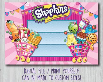 Shopkins Backdrop Shopkins Poster Shopkins Birthday Party Sign - Blank shopkins birthday invitations