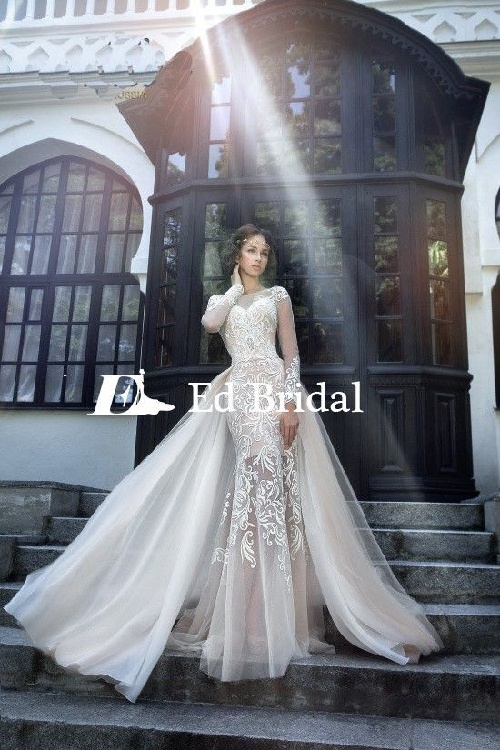 Hot Y Lace Liqued Long Sleeve Mermaid Wedding Dress With Detachable Train View