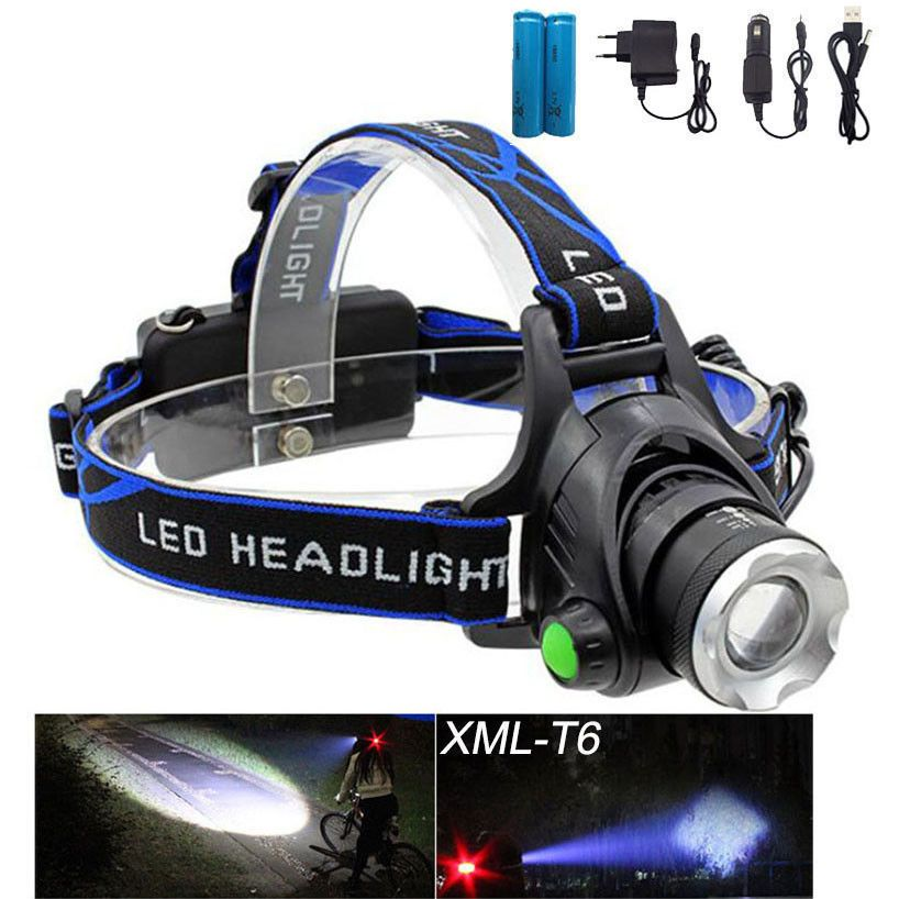 NEW REAL 2000LM T6 CREE XML LED RECHARGEABLE HEAD TORCH HEADLIGHT ZOOMABLE