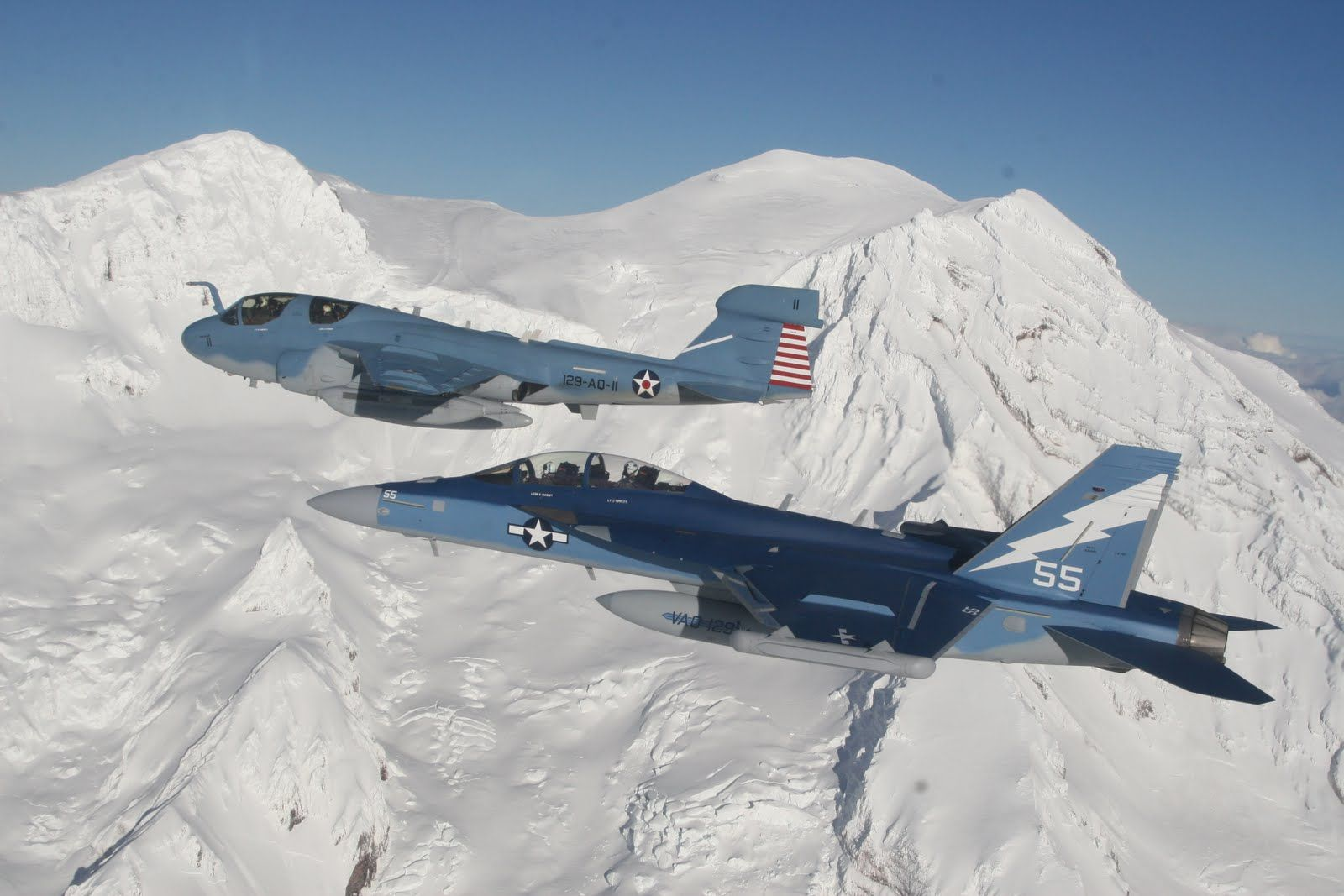 """E/A6B Prowler and E/A18G Growler from the """"Vikings"""" of"""