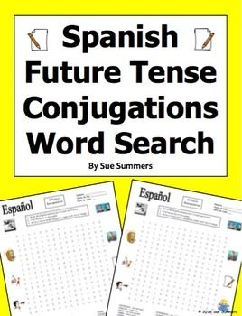 Spanish Future Tense 30 Conjugations Word Search Puzzle | Future tense  spanish, Learn another language, Imperfect tense spanish